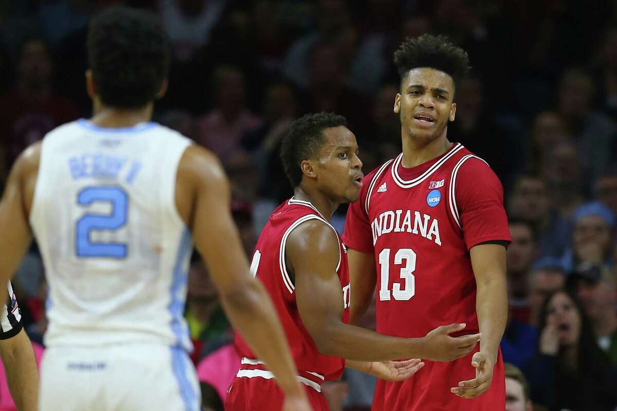 PHILADELPHIA, PA - MARCH 25: Juwan Morgan #13 of the Indiana Hoosiers reacts after being called for a foul against the North Carolina Tar Heels during the 2016 NCAA Men's Basketball Tournament East Regional at Wells Fargo Center on March 25, 2016 in Philadelphia, Pennsylvania.