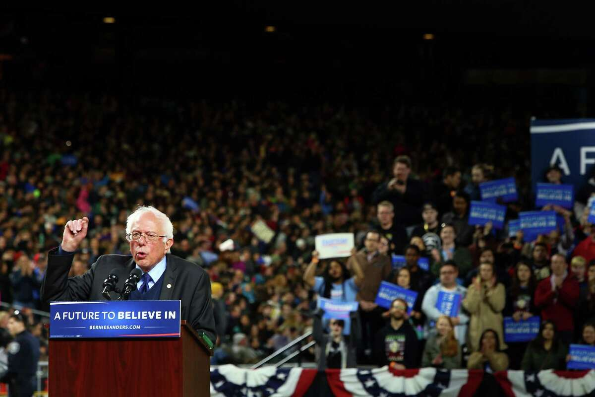Democratic presidential candidate Bernie Sanders speaks to a crowd of 15,000 at Safeco Field, Friday, Mar. 25, 2016.