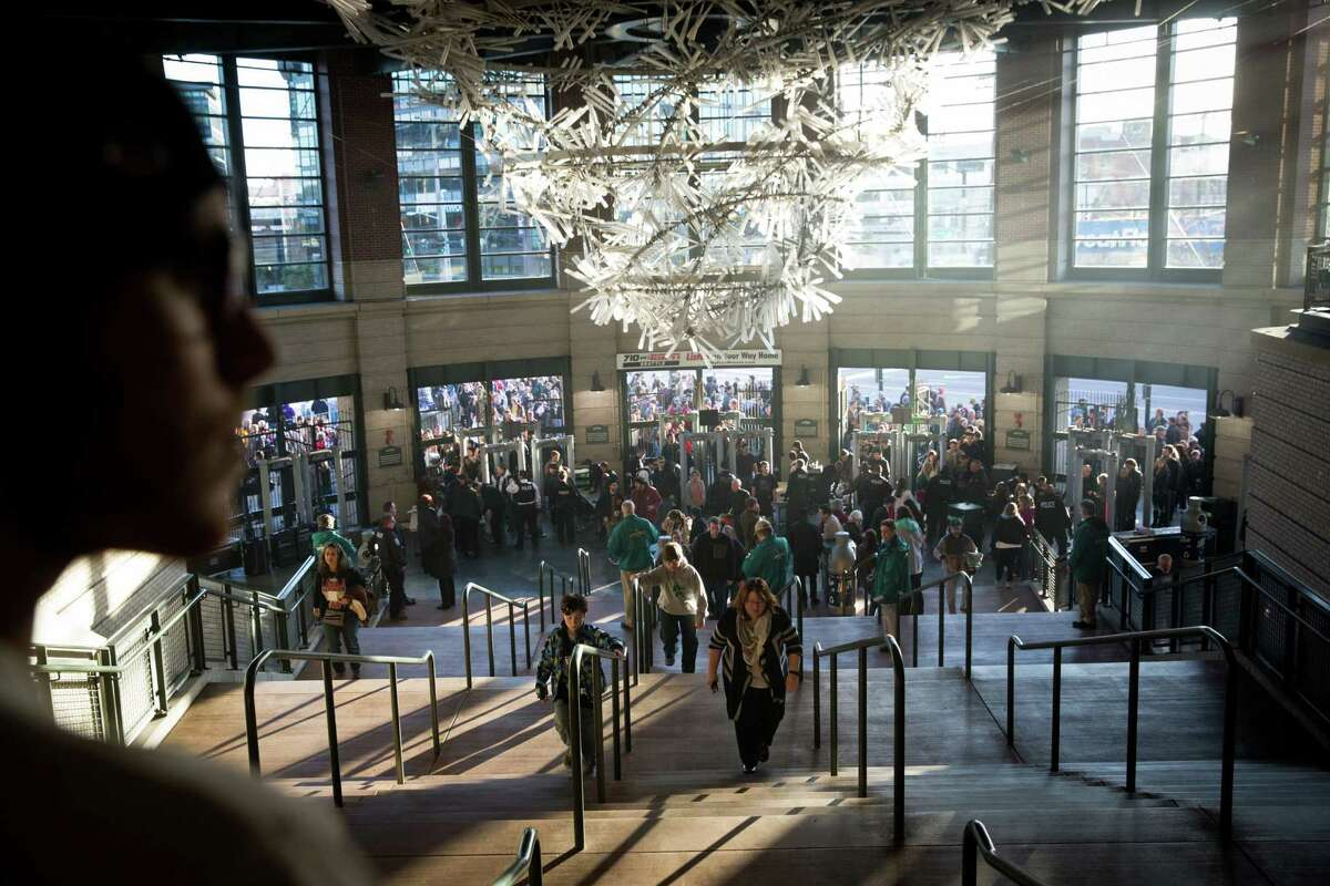 Thousands pour into the southwest entrance of Safeco Field for a rally for democratic presidential candidate Bernie Sanders at Safeco Field on Friday, Mar. 25, 2016. Washington's democratic caucus takes place Saturday morning.