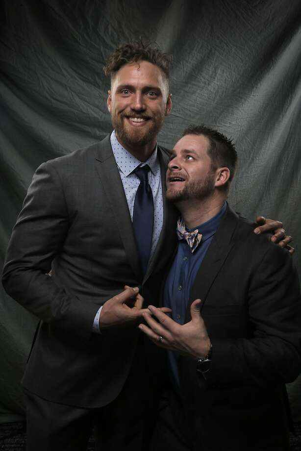 Hunter Pence and Stephen Vogt aren't shy around a camera. Both players recently teamed up for the Coaching Corps Game Changer  Awards to honor coaches who had a lot of personal influence on their  lives. Photo: Carlos Avila Gonzalez, The Chronicle