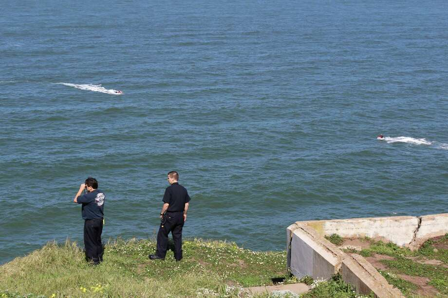 A San Francisco Fire Department rescue boat capsized off Ocean Beach during a training exercise on Saturday, March 26, 2016. Seven firefighters went into the water but all were rescued. Photo: Maryam Murphy