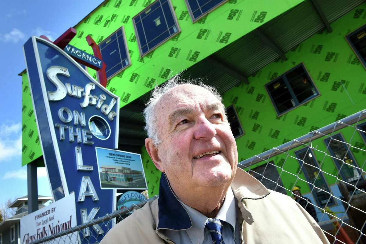 Lake George's Mayor Robert Blais is about to become the longest-serving mayor currently in New York state with his unopposed election on March 19, 2019. Click through the slideshow to see some archival photos of his time as mayor. Mayor Bob Blais on Canada Street where a hotel is under construction on Tuesday, March 22, 2016, at Surfside on the Lake Hotel and Suites in Lake George, N.Y. (Cindy Schultz / Times Union)