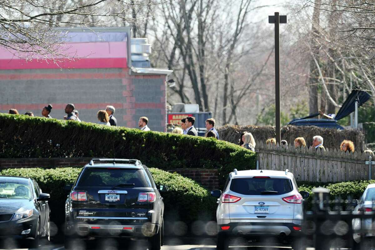 Mourners gather at the Leo P. Gallagher & Son Funeral Home in Stamford, Conn. on Saturday to attend the wake of Dylan Pape, who was shot and killed by police at his home on Monday night.