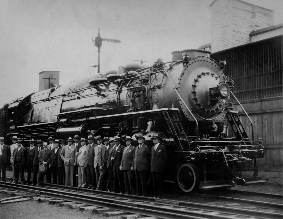 American Locomotive personnel stand next to an ALCO 4-8-4 experimental locomotive in 1931. It was built for the New York Central Railroad. Apparently it did poorly on test runs and was used only as a shunting engine at the Selkirk yard until it was scrapped in 1939. (Times Union archive)
