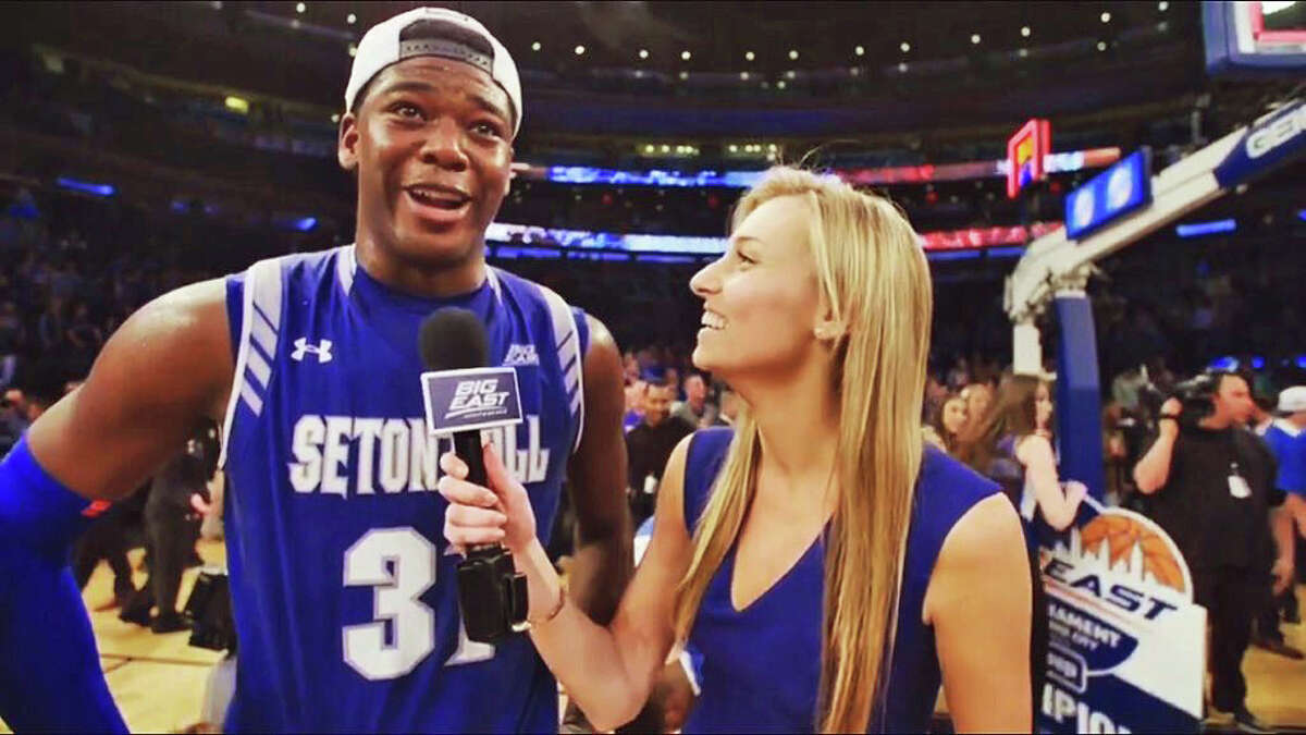 Stamford native and Big East digital correspondent Cayleigh Griffin interviews Seton Hall's Angel Delgado during the Big East Tournament at Madision Square Garden in New York. March 2016.