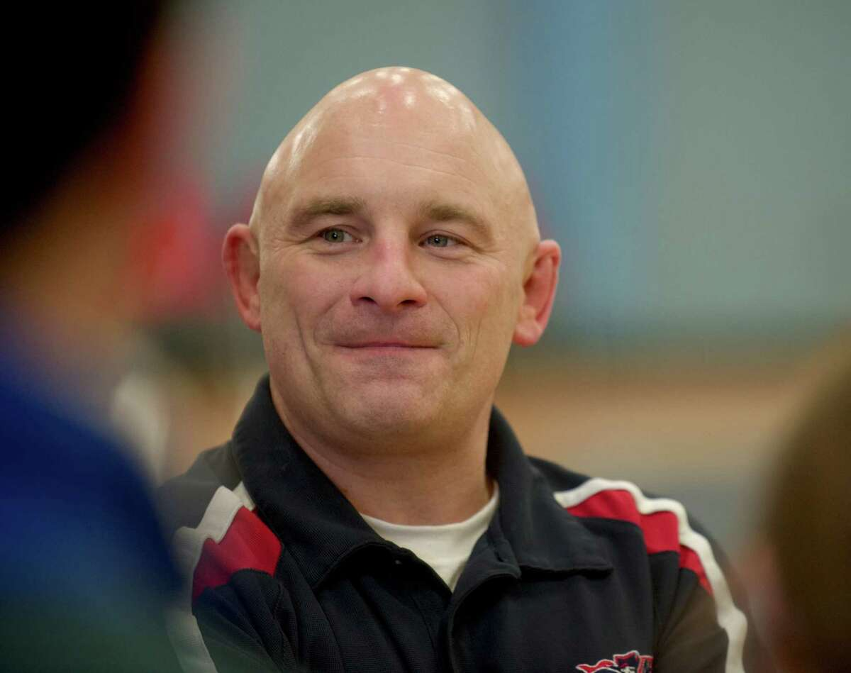 New Fairfield wrestling head coach Paul Musso during the New Fairfield High School annual Duals Tournament on Saturday, Febuary 1, 2014 in New Fairfield, Conn.