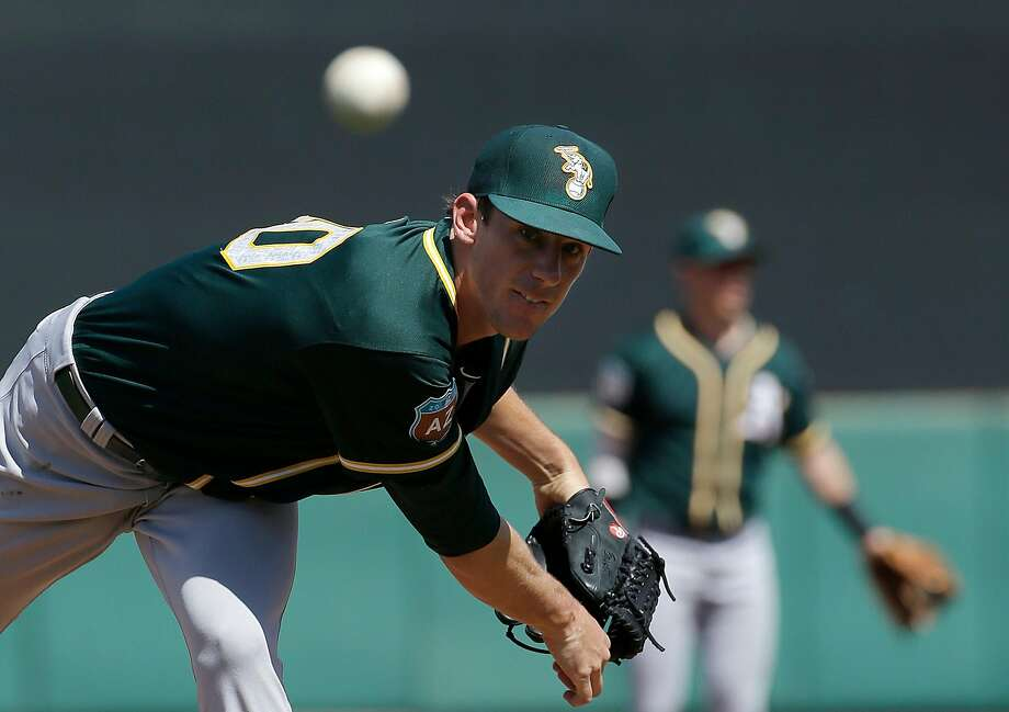Oakland Athletics starting pitcher Chris Bassitt (40) throws before the first inning of a spring training baseball game against the San Francisco Giants in Scottsdale, Ariz., Monday, March 21, 2016. (AP Photo/Jeff Chiu) Photo: Jeff Chiu, AP