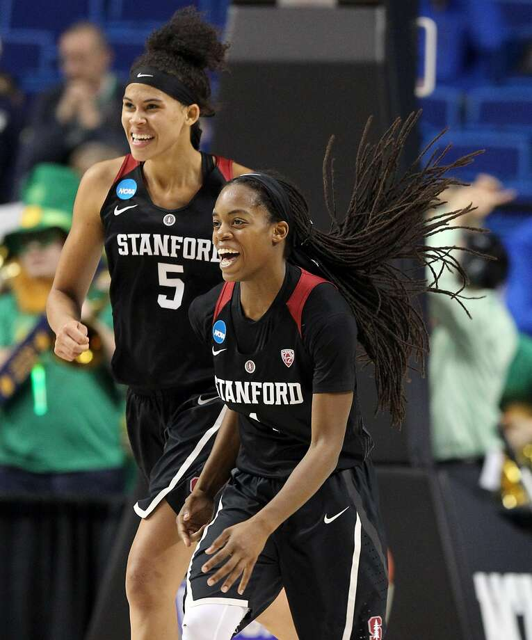 Stanford's Lili Thompson and Kaylee Johnson (5) could be key players Sunday. Photo: James Crisp, AP
