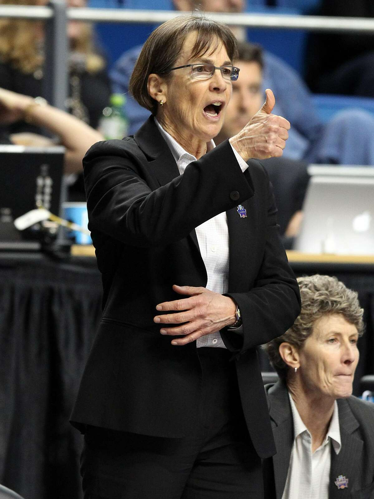 Stanford coach Tara VanDerveer calls a play during the team's regional semifinal against Notre Dame in the NCAA women's college basketball tournament in Lexington, Ky., Friday, March 25, 2016. Stanford won 90-84. (AP Photo/James Crisp)