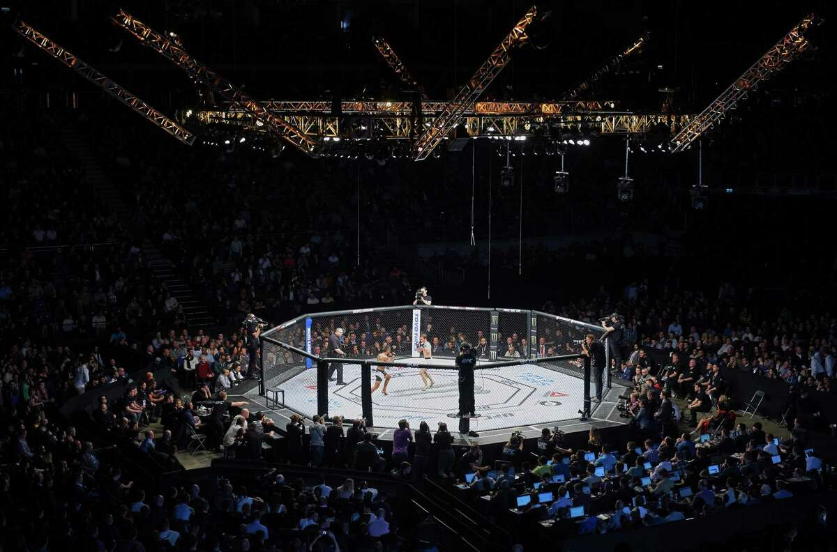 A general view of the O2 Arena during the UFC Fight Night event in London on February 27, 2016. / AFP / NIKLAS HALLE'NNIKLAS HALLE'N/AFP/Getty Images