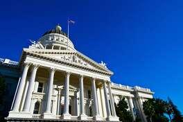 Facade of the California State Capitol, Sacramento, California, USA