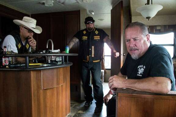 Former Bandidos Motorcycle Club President Jeff Pike, right, has avoided legal trouble during his time with the group, aside from a misdemeanor marijuana charge in 1992 that was later dropped.  talks about the group's history and it's relationship with law enforcement during an interview at the group's 50th anniversary party Saturday, March 12, 2016, in Kingwood. ( Jon Shapley / Houston Chronicle )
