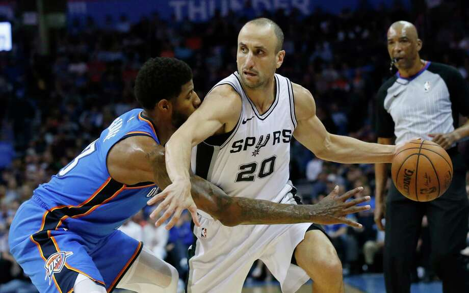 San Antonio Spurs forward Kawhi Leonard (2) looks to pass as Oklahoma City Thunder guard Andre Roberson (21) and Oklahoma City Thunder center Steven Adams (12) defend during the second half of Game 4 of a second-round NBA basketball playoff series, Sunday, May 8, 2016, in Oklahoma City. Oklahoma City won 111-97.  (AP Photo/Alonzo Adams) Photo: Associated Press / FR159426 AP