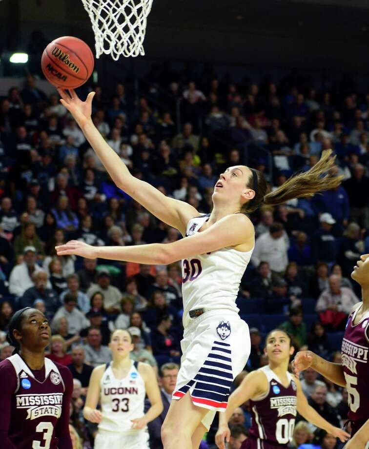 UConn's Breanna Stewart lays up the ball to score during NCAA Division I Women's Basketball Championship action against Mississippi State at the Arena at Harbor Yard in Bridgeport, Conn., on Saturday March 26, 2016. Photo: Christian Abraham / Hearst Connecticut Media / Connecticut Post