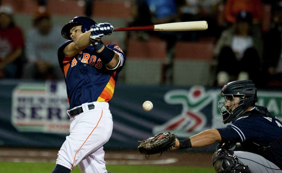 Houston Astros' Jose Altuve bats against the San Diego Padres in a spring training baseball game in Mexico City, Saturday, March 26, 2016. Photo: Eduardo Verdugo, AP / AP