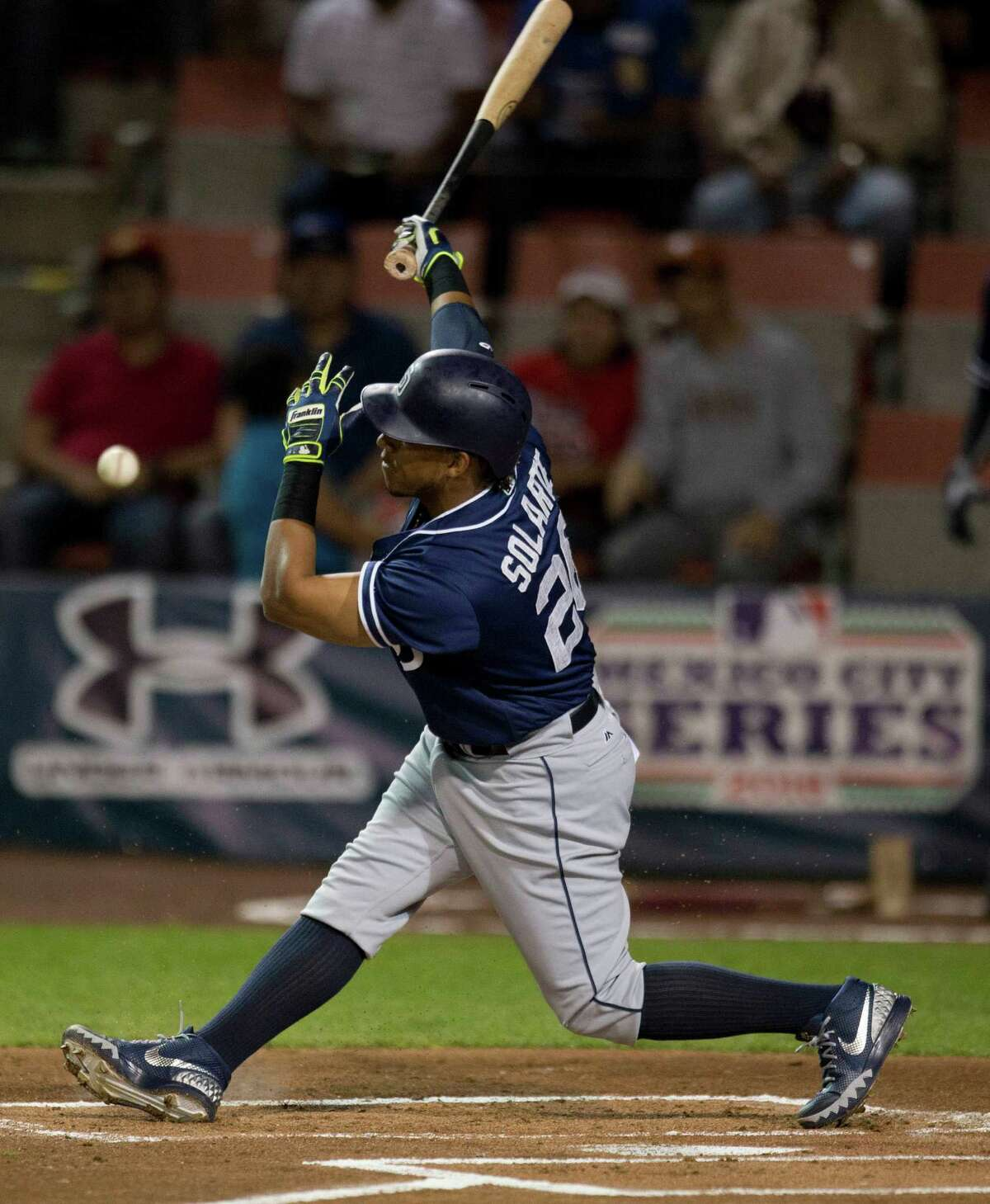 San Diego Padres' infielder Yangervis Solarte bats against the Houston Astros during a spring training baseball game in Mexico City, Saturday, March 26, 2016.