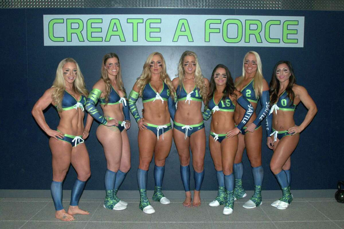 Seattle Mist players (L to R) Shea Norton, Saige Steinmetz, Danika Brace, Bryn Renda, K.K. Matheny, Stevi Schnoor and Jena Weiss pose for a photo at the team's media day on March 27, 2016 atForce 10 Performance in Redmond, Washington.