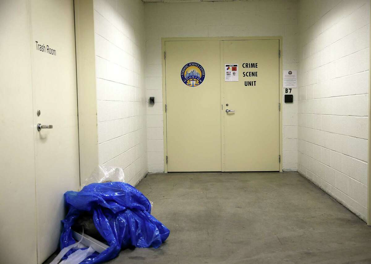 The basement entry to Houston Forensic Science Center on Friday, March 18, 2016, in Houston.