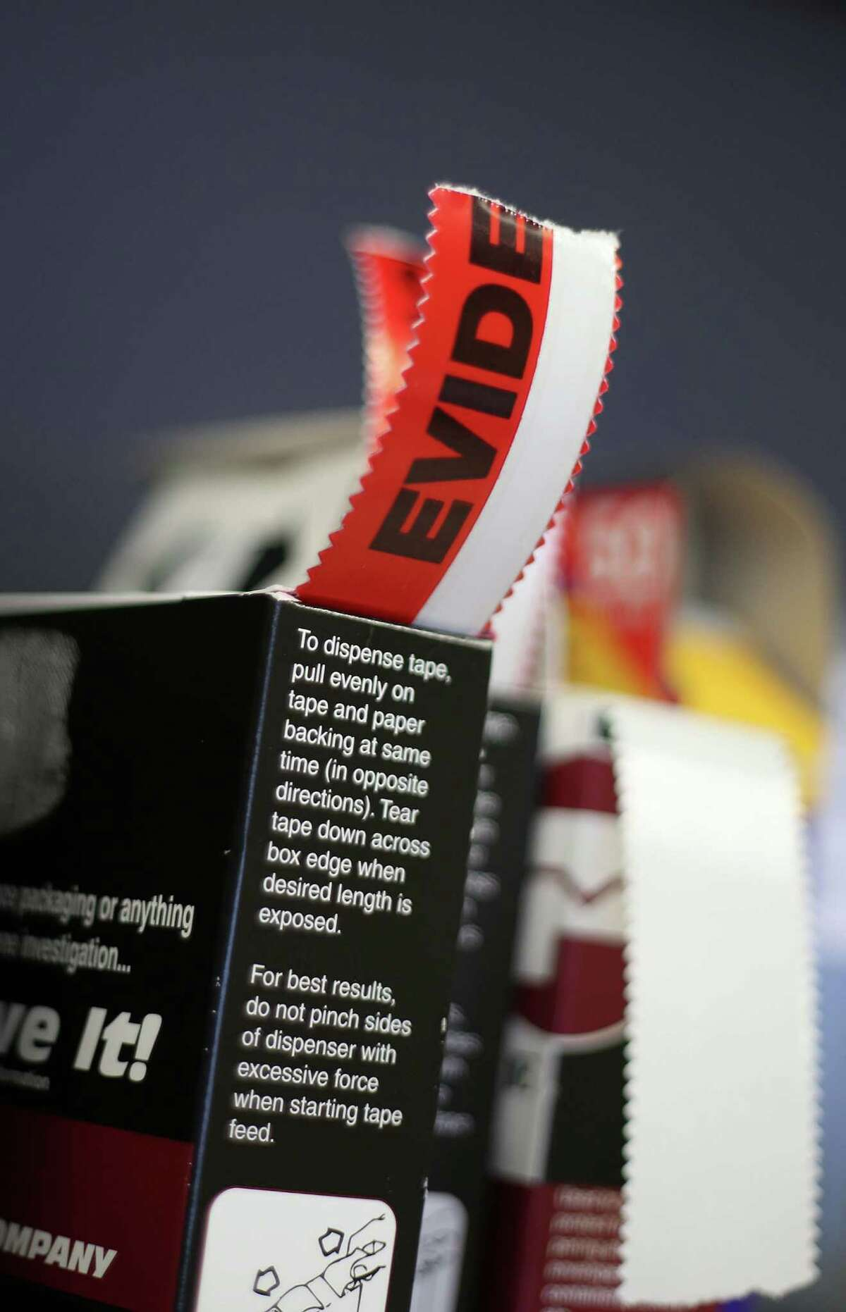 Evidence stickers at Houston Forensic Science Center on Friday, March 18, 2016, in Houston.