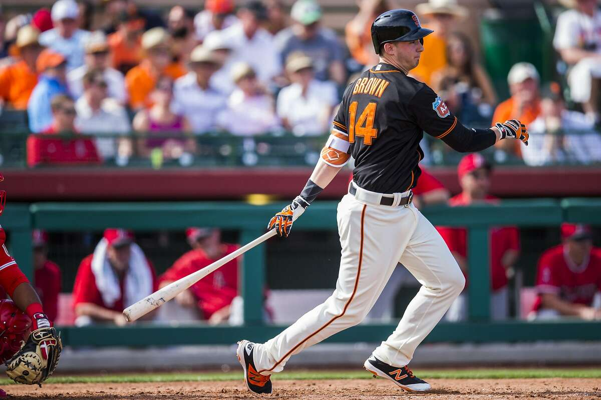 SCOTTSDALE, AZ - MARCH 2: Trevor Brown #14 of the San Francisco Giants bats during a spring training game against the Los Angeles Angels of Anaheim at Scottsdale Stadium on March 2, 2016 in Scottsdale, Arizona. (Photo by Rob Tringali/Getty Images)