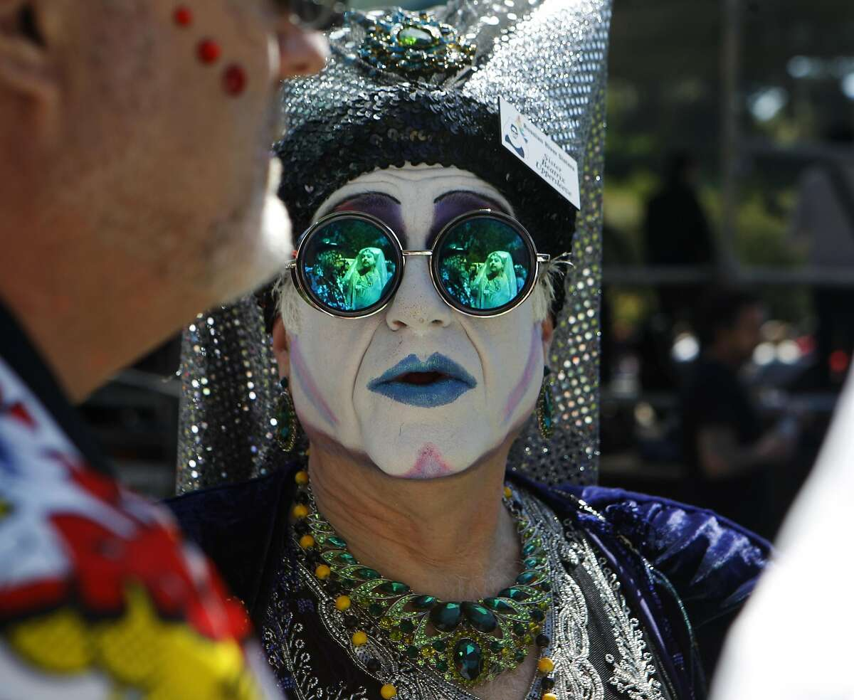 Sister Beatrix Uppersleeve, of the Russian River Sisters, attends the 37th annual Easter in the Park celebration put on by the Sisters of Perpetual Indulgence in San Francisco, Calif., on Sunday March 27, 2016.