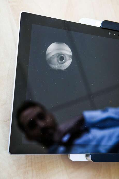 Stanford researcher Jacob Hartley tracks eye movement on Eye-Sync. Photo: Gabrielle Lurie, Special To The Chronicle
