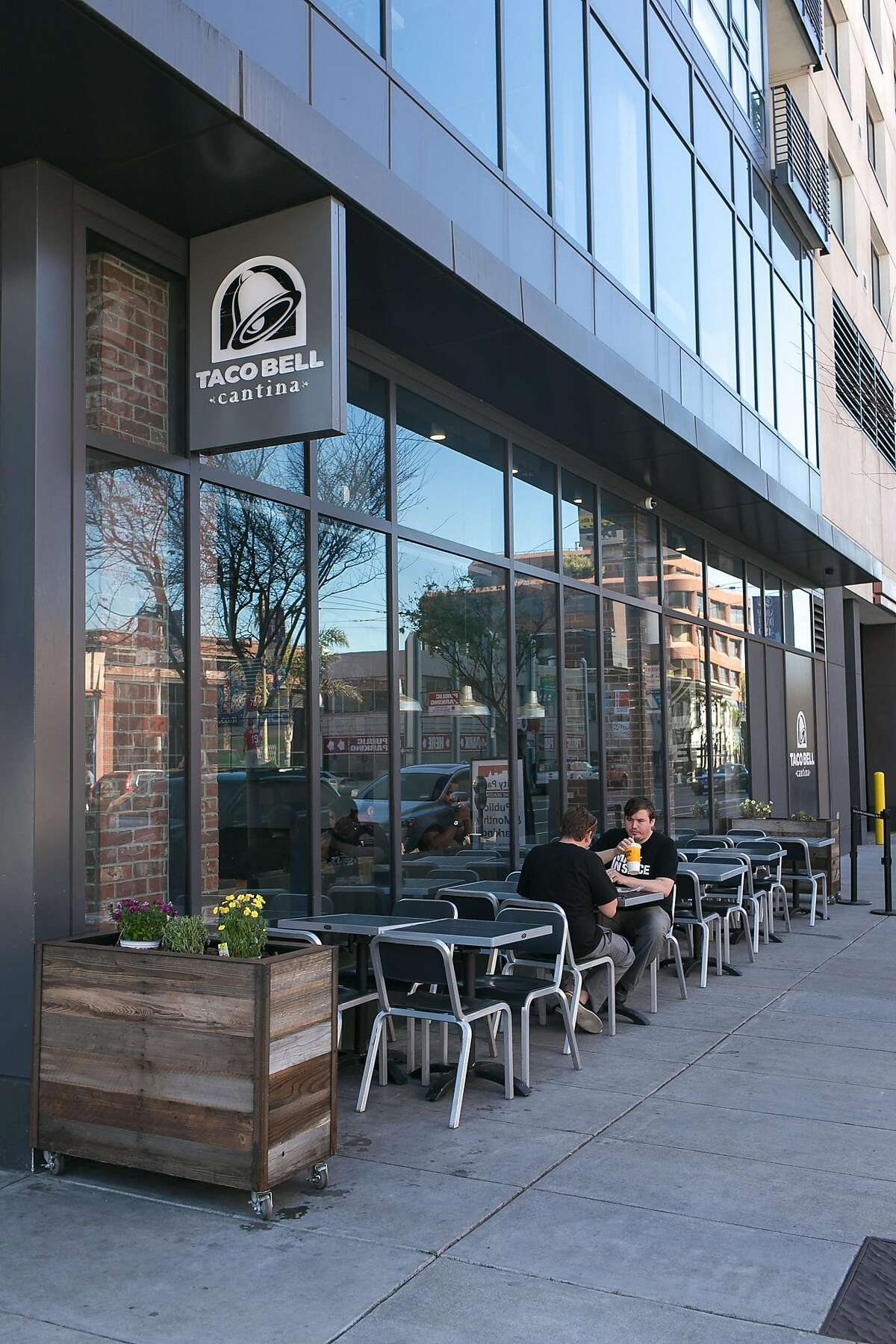 Outside seating at Taco Bell Cantina in S.F. Click through the gallery for a roundup of fast food chains the Bay Area doesn't have.