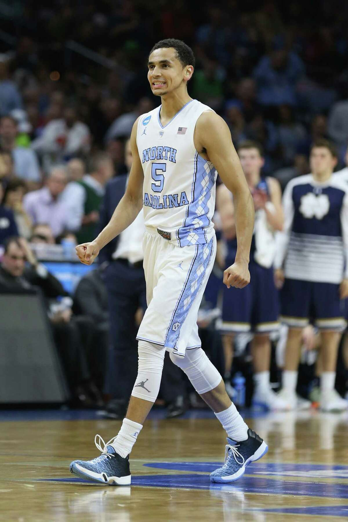 PHILADELPHIA, PA - MARCH 27: Marcus Paige #5 of the North Carolina Tar Heels reacts in the second half against the Notre Dame Fighting Irish during the 2016 NCAA Men's Basketball Tournament East Regional Final at Wells Fargo Center on March 27, 2016 in Philadelphia, Pennsylvania.