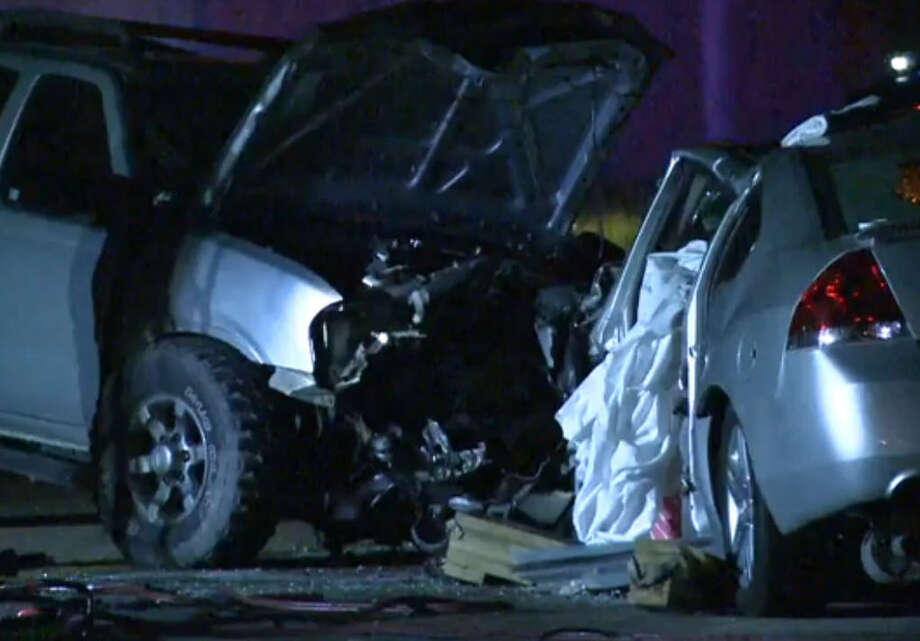A suspected drunk driver has been accused in a head-on traffic crash that left a woman dead and three other people injured Sunday night in north Harris County. Photo: Metro Video