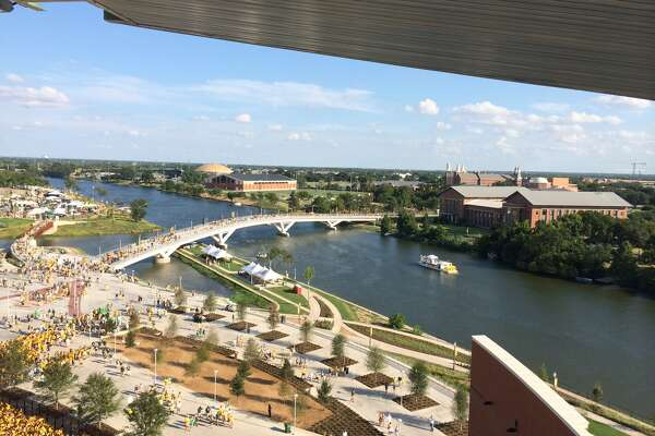 The view from Baylor's McLane Stadium overlooking the Sheila and Walter Umphrey Bridge and the Sheila and Walter Umphrey Law Center.  (Photo provided by Bradley J.B. Toben)
