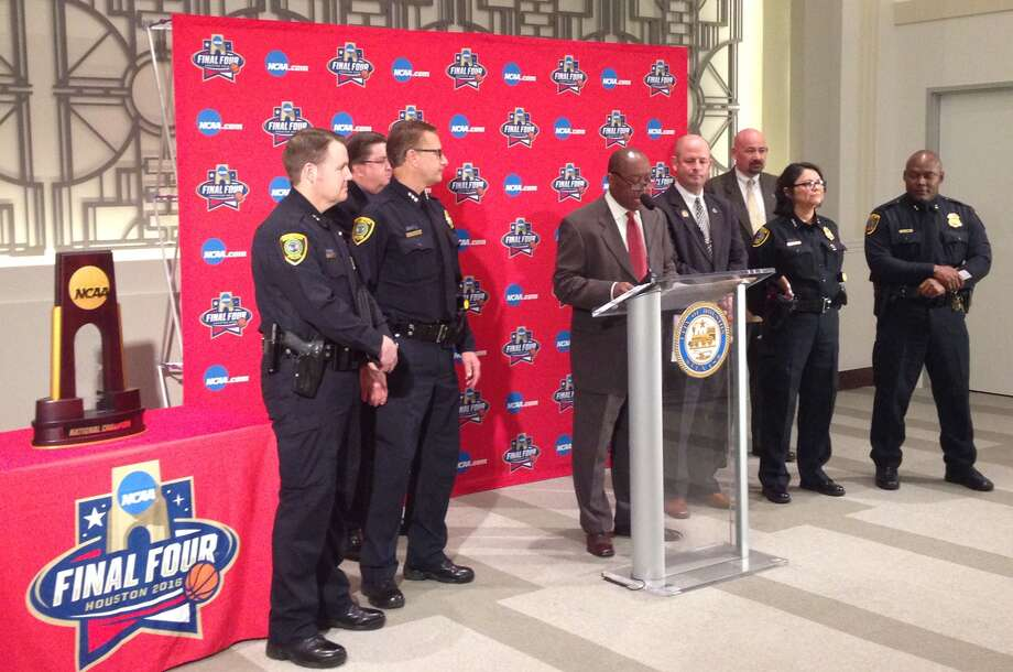 Houston Mayor Sylvester Turner is joined by police and Final Four tournament organizers on Monday. Security and transportation preparations were months in planning for the April 2-4 Final Four.