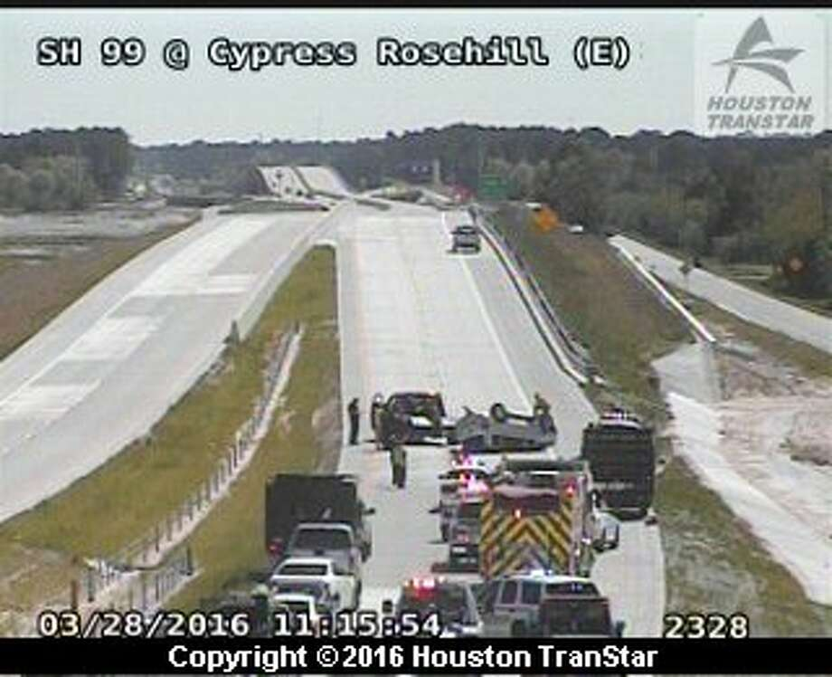 A crash blocked portions of the eastbound Grand Parkway North Monday in northwest Harris County. Photo: Houston TranStar