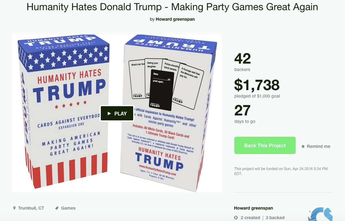 """""""Humanity Hates Trump"""" is a Kickstarter project from the Trumbull-based company SCS Direct Inc. (Screen shot taken March 28, 2016)"""