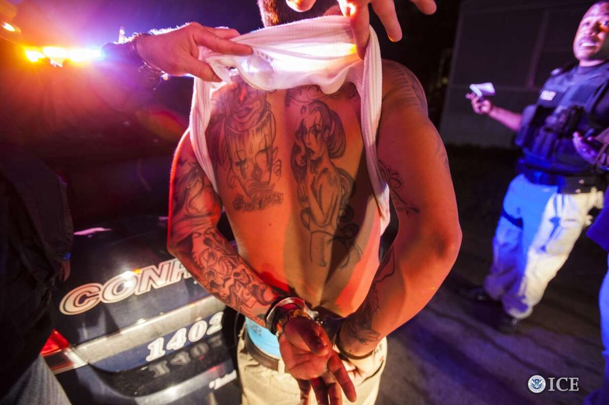 Law enforcement officials inspect an arrested individual's tattoos for signs of gang affiliation. One thousand one hundred and thirty-three individuals were arrested across the U.S. during Project Shadowfire, a 5-week operation led by U.S. Immigration and Customs Enforcement's (ICE) Homeland Security Investigations (HSI) that ended March 18. The operation targeted transnational criminal gangs and others associated with transnational criminal activity, like drug trafficking, human smuggling and sex trafficking, murder and racketeering.