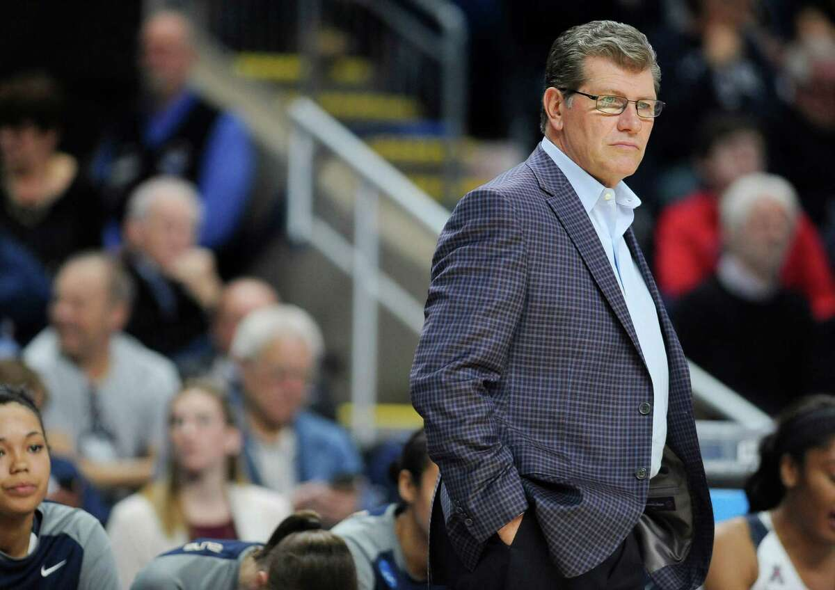 Connecticut head coach Geno Auriemma watches action during the second half of an NCAA college basketball game against Mississippi State in the regional semifinals of the women's NCAA Tournament, Saturday, March 26, 2016, in Bridgeport, Conn.