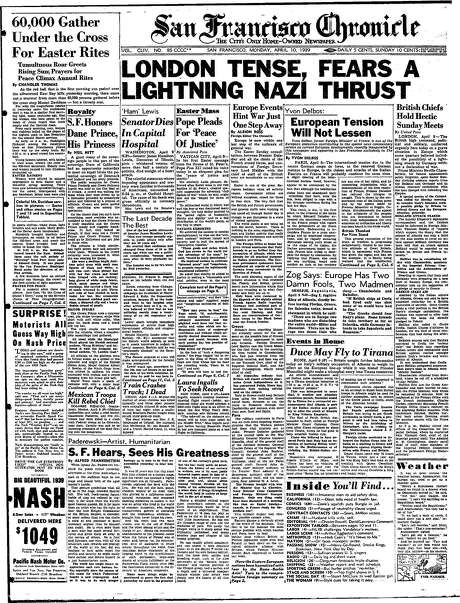 The Chronicle's front page from April 10, 1939, covers the crowd gathered at Mount Davidson for Easter services and rising fears in Europe over the possibility of war.