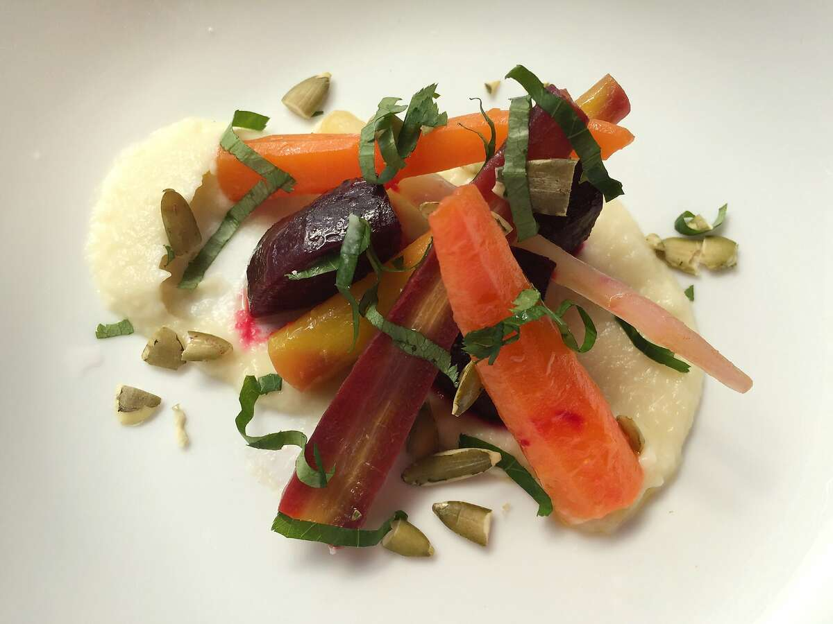 Roasted beet and carrot salad with cauliflower dashi puree from Geoffrey Lee
