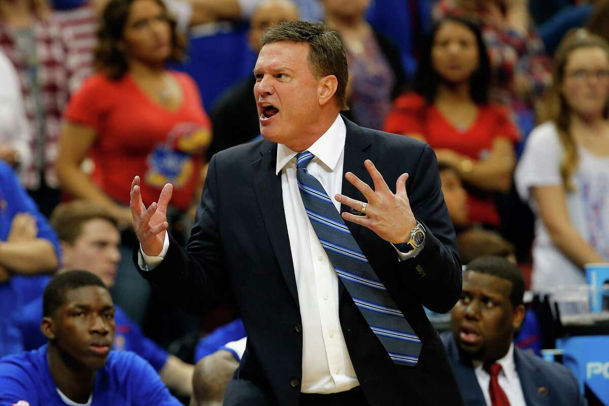 LOUISVILLE, KY - MARCH 26: Head coach Bill Self of the Kansas Jayhawks reacts in the first half against the Villanova Wildcats during the 2016 NCAA Men's Basketball Tournament South Regional at KFC YUM! Center on March 26, 2016 in Louisville, Kentucky.