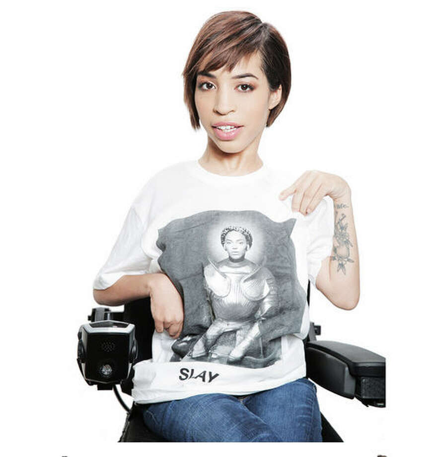 Jillian Mercado, who has muscular dystrophy and uses a wheelchair, is one of the featured models for Beyonce's fan clothing on Beyonce.com. Photo: Beyonce.com
