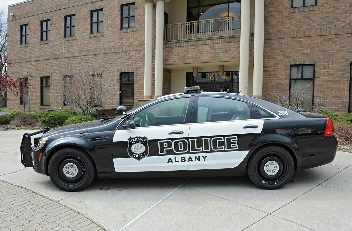 The new Albany Police Department cruiser with black and white color scheme is parked in front of the Public Safety Building on Friday, March 25, 2016 in Albany, N.Y. (Lori Van Buren / Times Union)