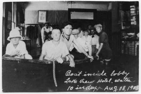 A boat inside the lobby of the Lake View Hotel in Port Arthur on August 8, 1915 Photo provided by the Museum of the Gulf Coast