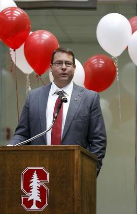 New Stanford men's basketball head coach Jerod Haase speaks to a group of university supporters during a meet and greet on campus in Palo Alto, California, on Monday, March 28, 2016.