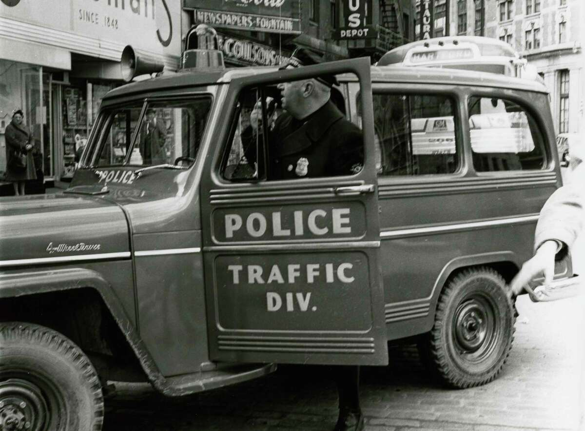 Historic Albany Police traffic jeep on Broadway and State Street, undated, in Albany, N.Y. (City of Albany)