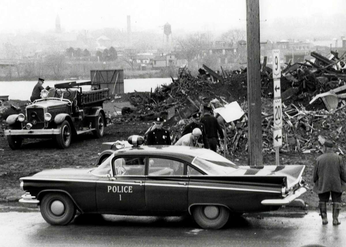 Historic Albany Police car at fire in the south end by the Hudson River, undated, in Albany, N.Y. (City of Albany)