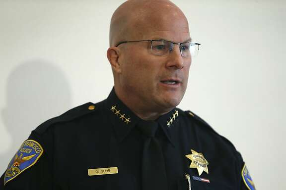 Police Chief Greg Suhr says he's open to have his officers test smart gun technology on a voluntary basis while he appears at a news conference for a smart gun symposium in San Francisco, Calif. on Tuesday, Feb. 23, 2016.