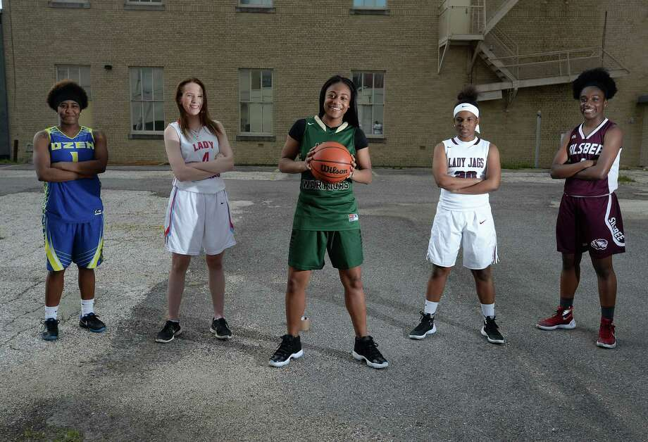 From left, Ozen's Whitney Benard, Lumberton's Hannah Holt, Legacy's Alexis Morris, Central's Tonjdreanna Clifton and Silsbee's Eranishia Carmenar. See the Super Gold Girls Basketball first team, as well as the Newcomer of the Year, in the following slides. Photo: Guiseppe Barranco, Guiseppe Barranco/The Enterprise