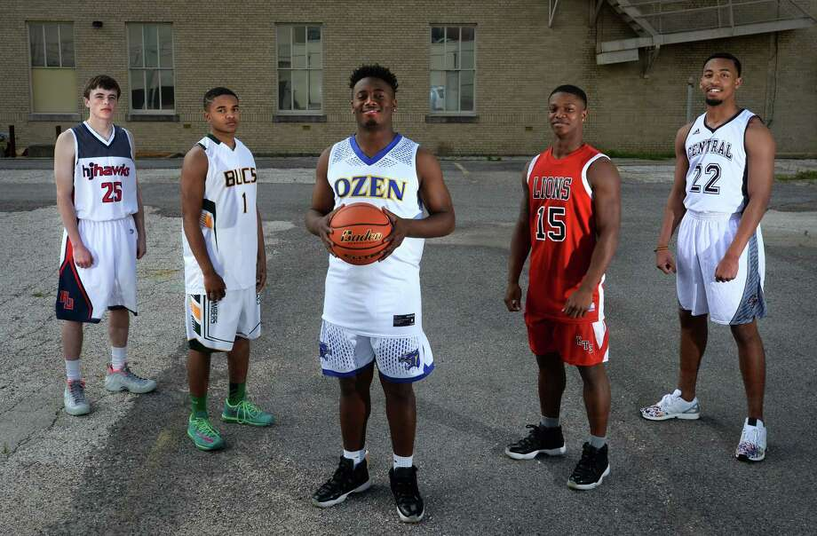 From left, Hardin-Jefferson's Michael Saladin, East Chambers' Darius Guillory, Ozen's Josh Boyd, Kountze's Grayland Arnold and Central's Nijal Pearson. See stats about the 2016 Super Gold Boys Basketball first team players, as well as the Newcomer of the Year, in the following slides.  Photo: Guiseppe Barranco, Guiseppe Barranco/The Enterprise