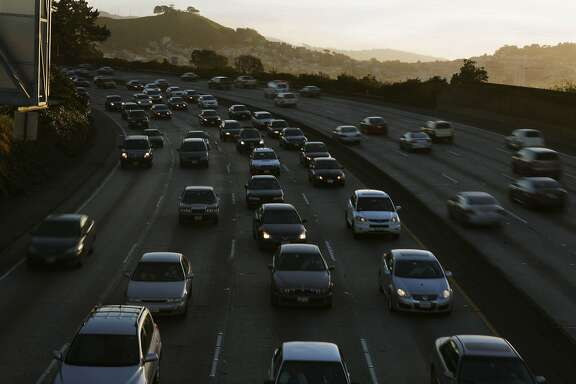 Traffic is seen moving slowly in the north bound lanes of Highway 101 and moving faster in the south bound lanes on Wednesday, January 19, 2011 in San Francisco, Calif. The annual Texas Transportation Institute study of traffic congestion shows the Bay Area dropping in the rankings.