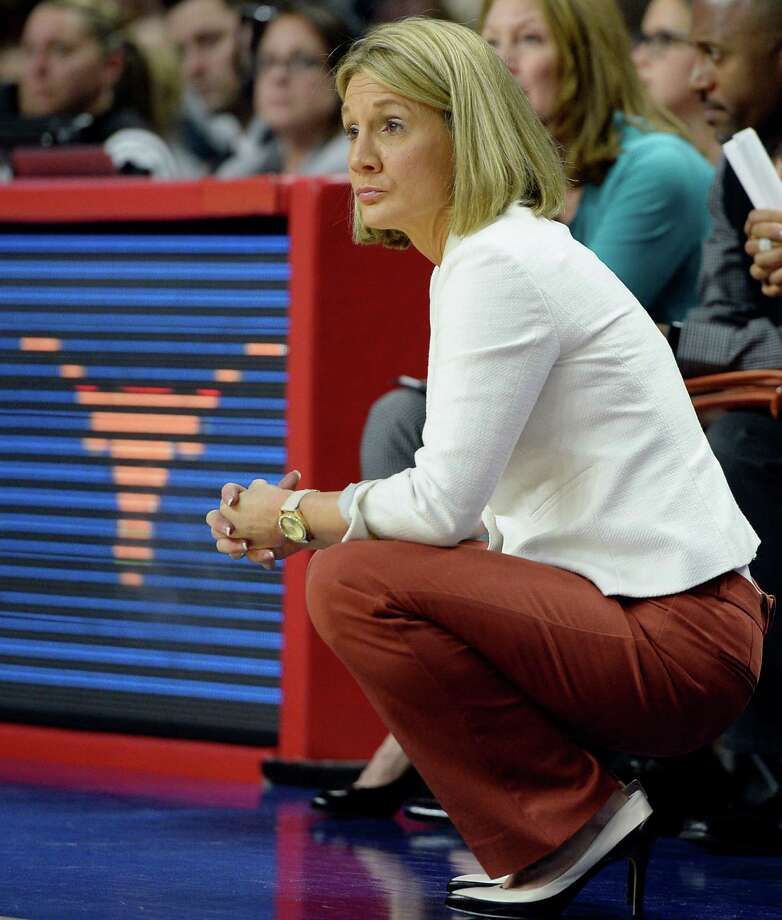 Texas coach Karen Aston reacts during the second half against UConn on Monday at the Webster Bank Arena in Bridgeport. Photo: Jessica Hill / AP / AP2016