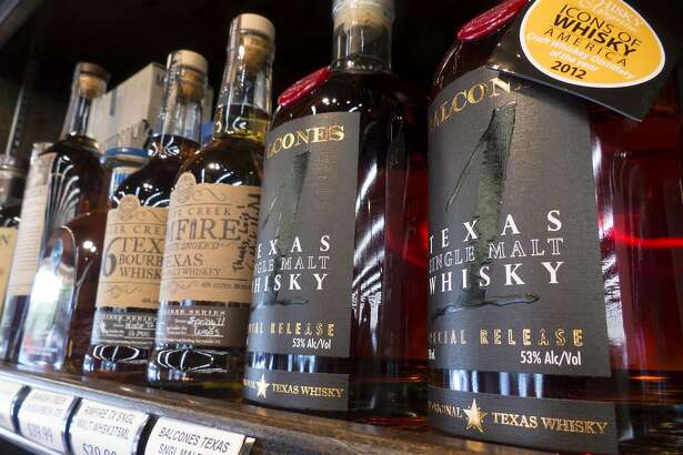 "Ranger Creek .36 Texas Bourbon Whiskey, Ranger Creek Rimfire Texas Single Malt Whiskey and Balcones Texas Single Malt Whisky are placed on the shelf under ""flavorful spicy"" at WB Liquors."